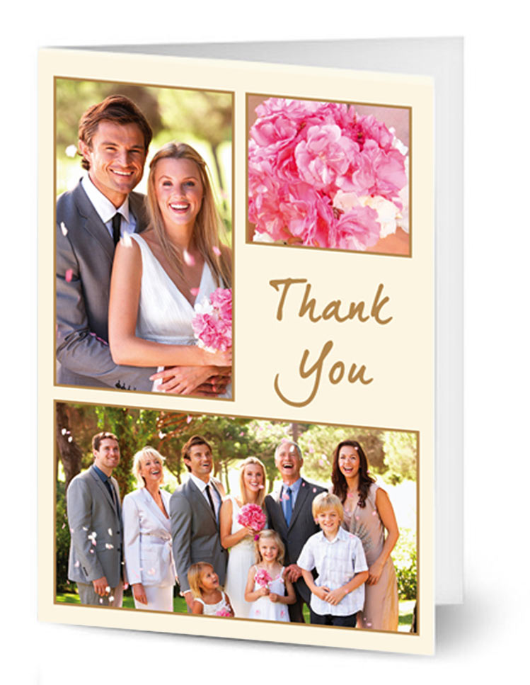 Ivory and gold portrait 3 photo wedding card