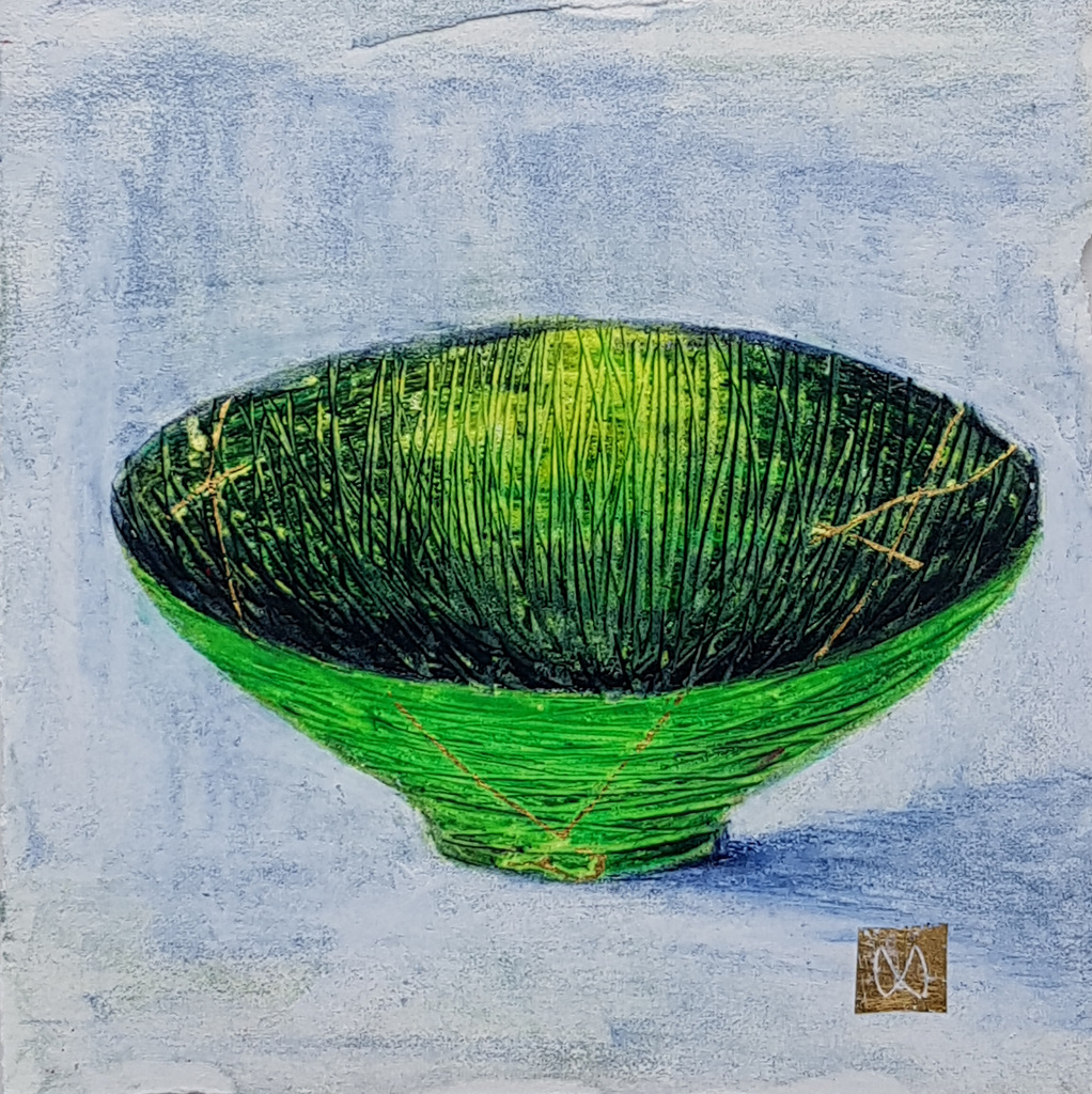 Painting of a green Summer tea bowl. Kintsugi repaired with gold.
