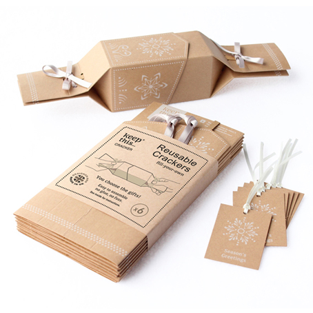 LIMITED STOCK - 6 Reusable Eco Crackers - 'Ginger Cookies' Kraft design - with FREE tags