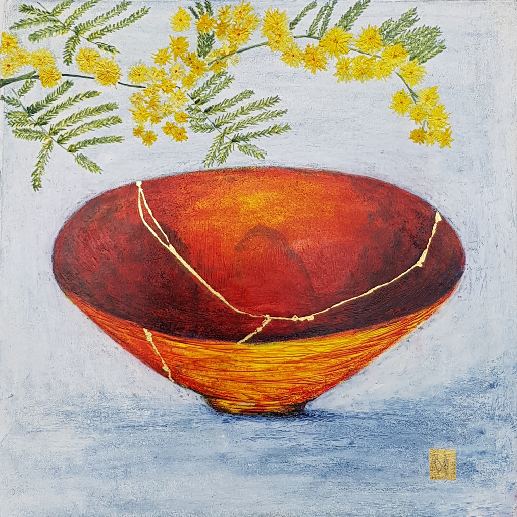 Contemporary painting of a yellow orange kintsugi bowl with mimosa flowers and  gold repair.