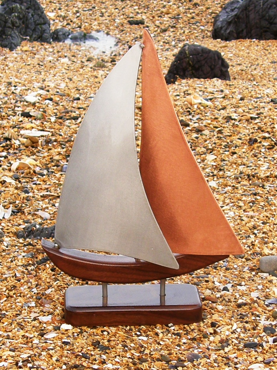 Limited edition Yacht Model handmade in Copper & Stainless Steel on Walnut Base