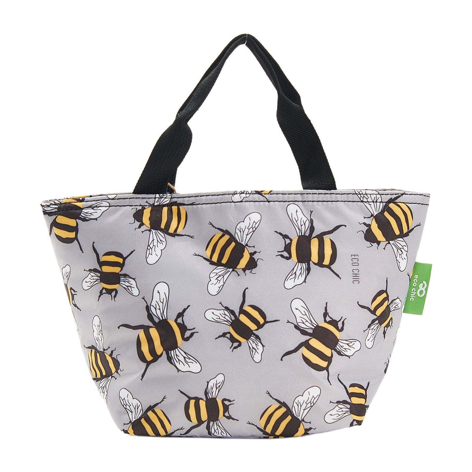 Eco Chic Lightweight Foldable Lunch Bag Bees GREY
