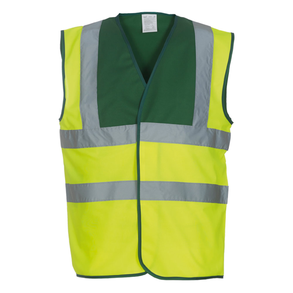 Paremedic Green Yoke & Yellow Hi Vis Safety Vests