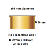 48 In A Box No3. Can  99mm x 38mm high No lids you have to buy the lids Separately.