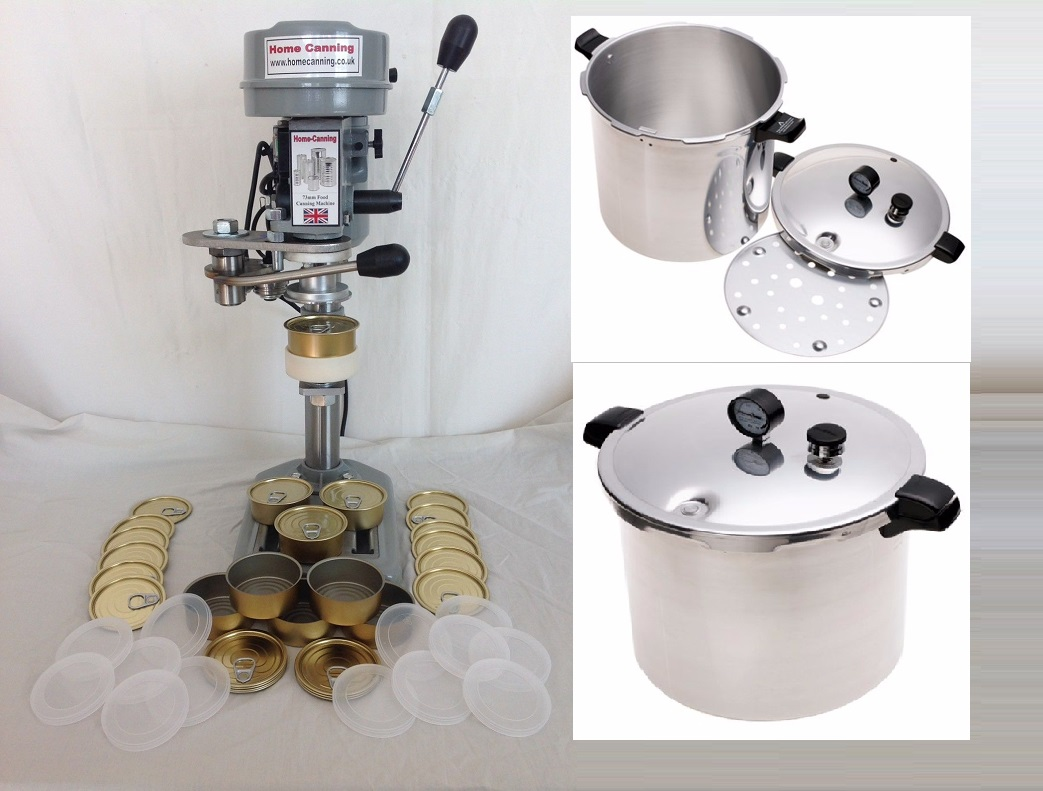 Starter Pack 4 NEW 73mm Work-Top Electric Home Canning Machine + Pressure Cooker + 200 cans & lid