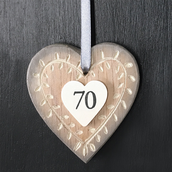 East Of India Age 70 Wooden Hanging Heart