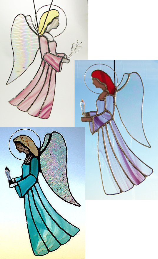Large stained-glass angel suncatcher