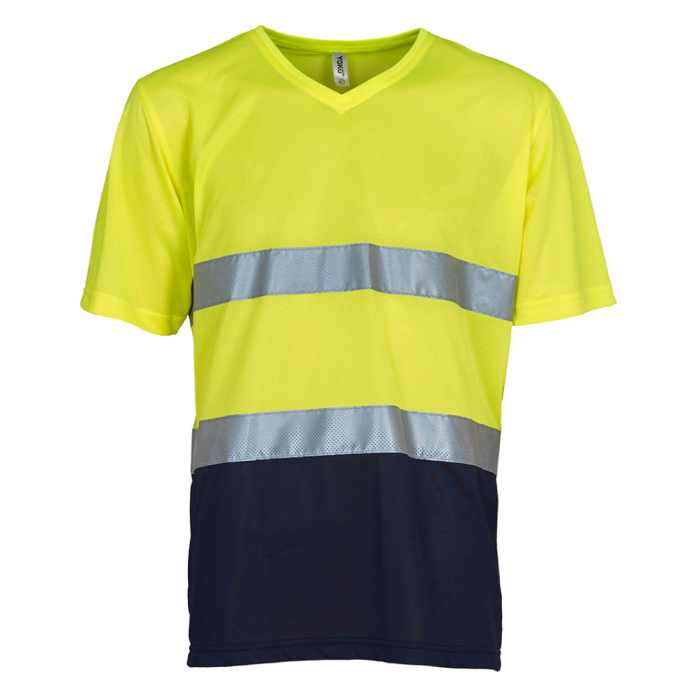 V-Neck Yellow & Navy Hi Vis T-Shirt