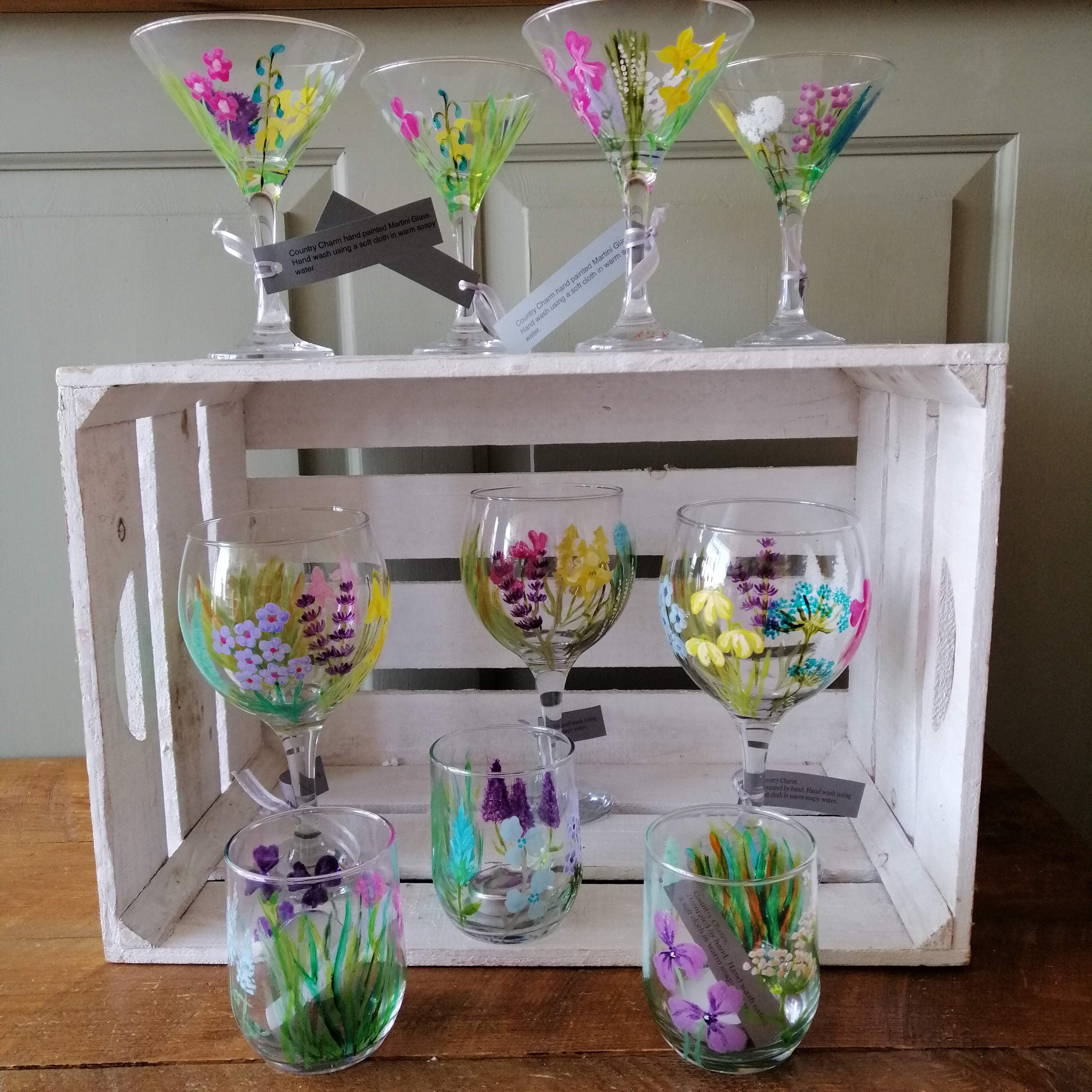 Beautiful Handpainted Gin and Martini Glasses and Tealight Holders