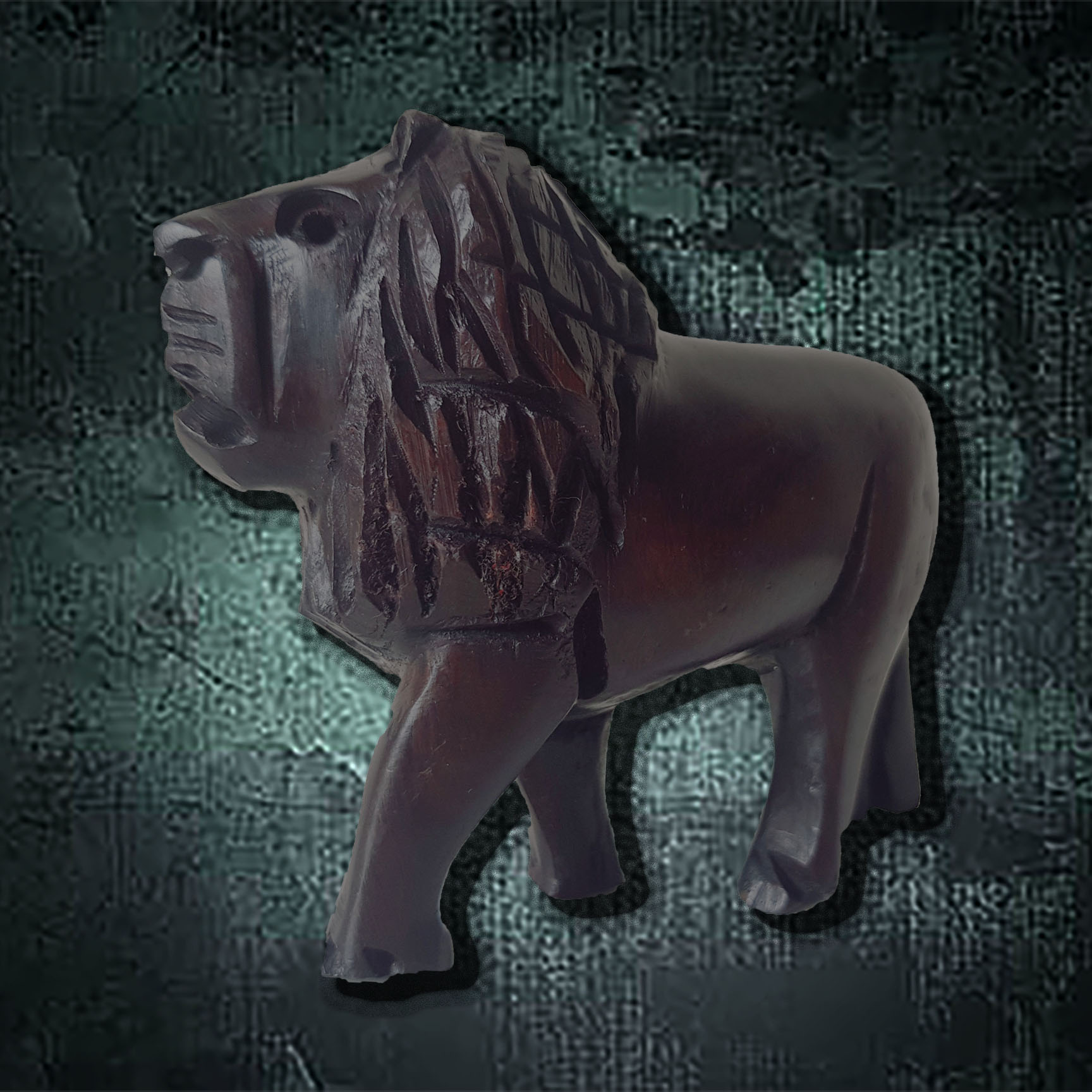 H3 Hand Carved Lion Ebony Wood
