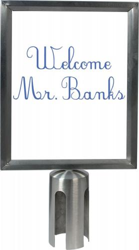 Sign Holder A4 for Retractable barrier  – brushed steel