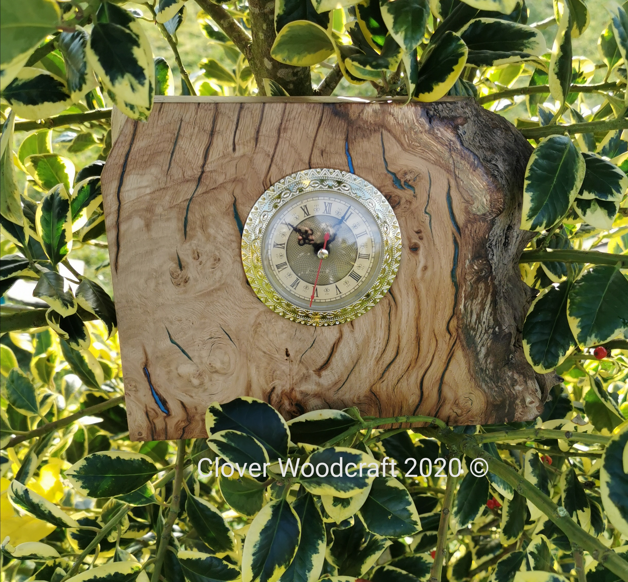 Burl Oak Wood and Epoxy Mantel Clock Handmade