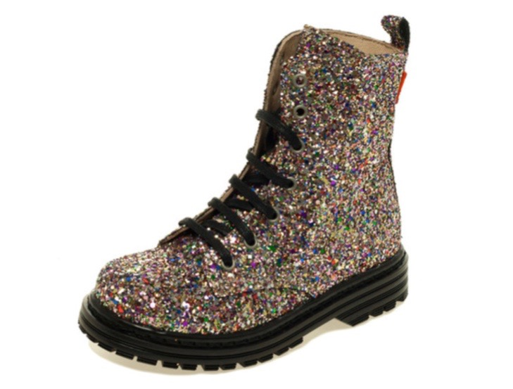 All over glitter lace up doc marten style boots for little girls