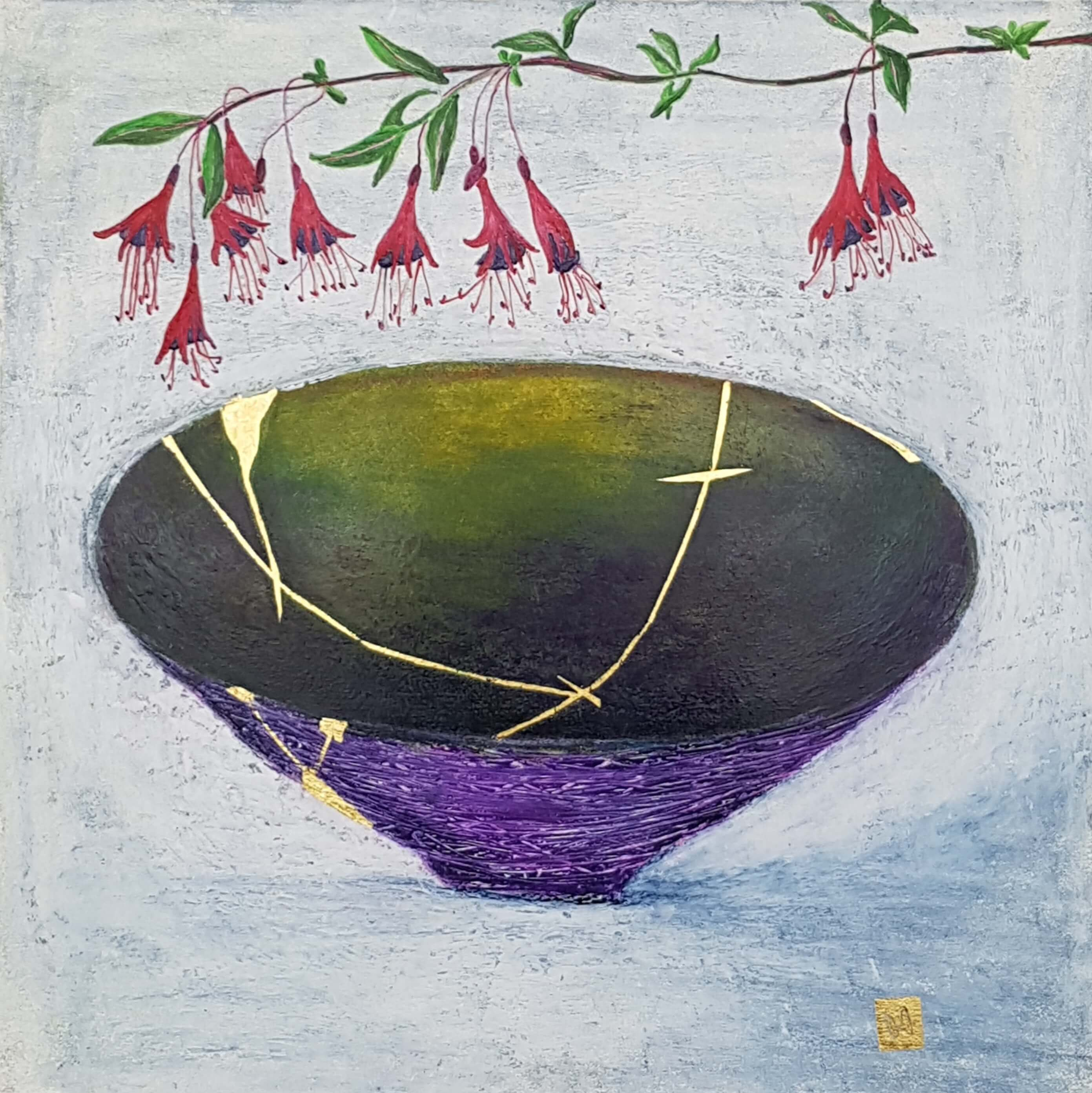 A kintsugi bowl painting with fuchsia flowers purple green gold