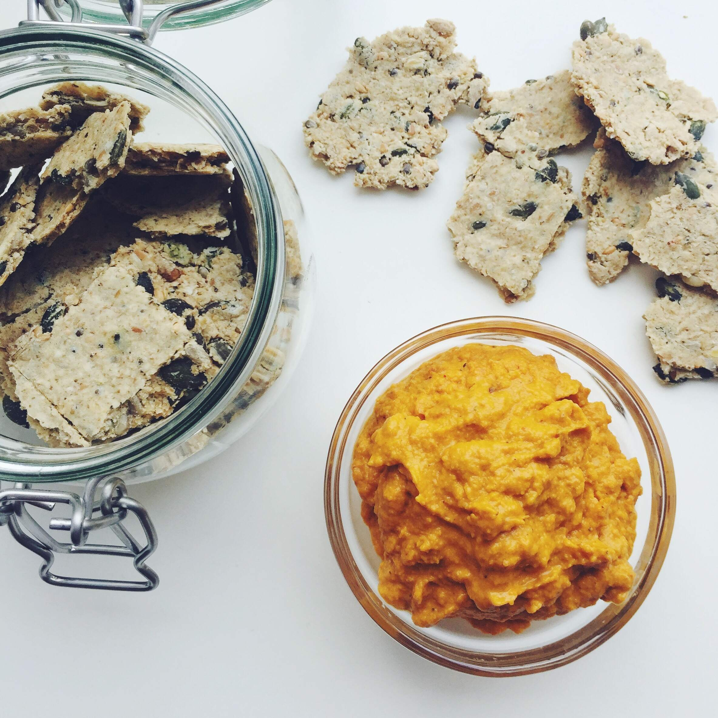 Roasted Carrot & Tahini Dip With Seedy Oat Crackers
