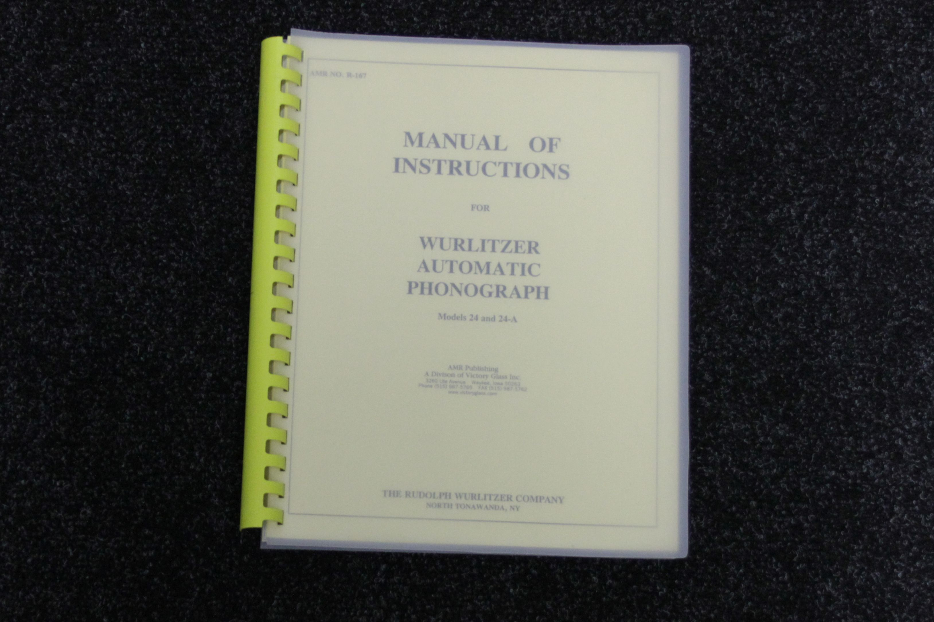 Wurlitzer Manual of Instruction 24 en 24 A