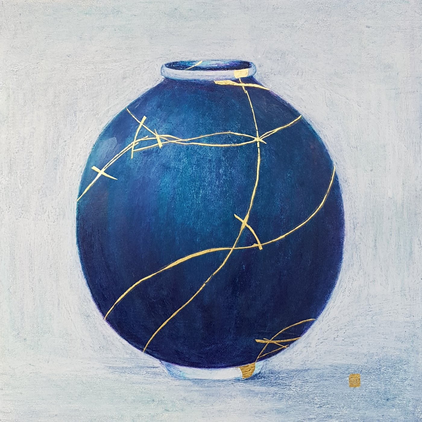 Contemporary large kintsugi vessel with gold repair –blue, teal, purple