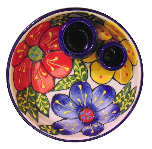 Classic Spanish Large Flowers Olive Bowl