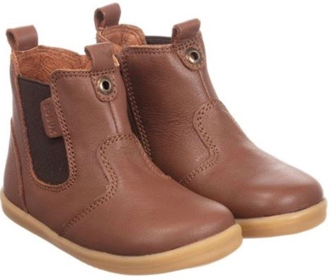 Tan leather Chelsea style boots with elasticated inserts