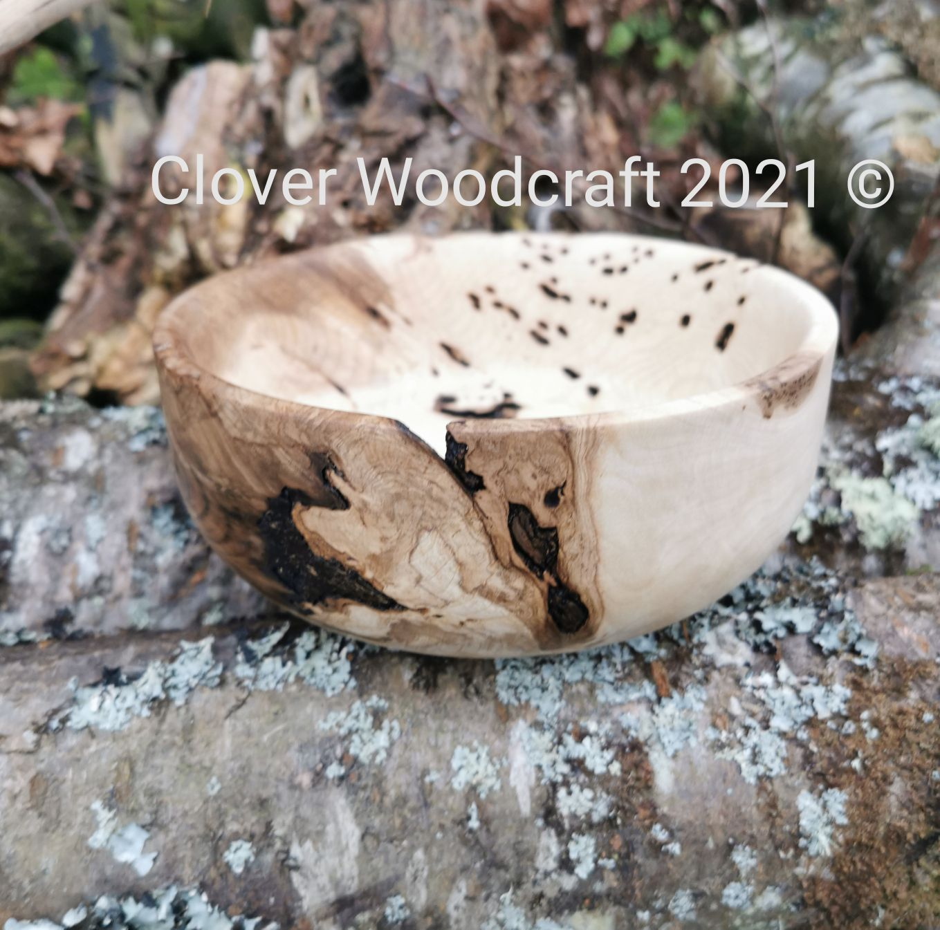 Wood Turned Salad Bowl featuring stunning Live edge inclusions .