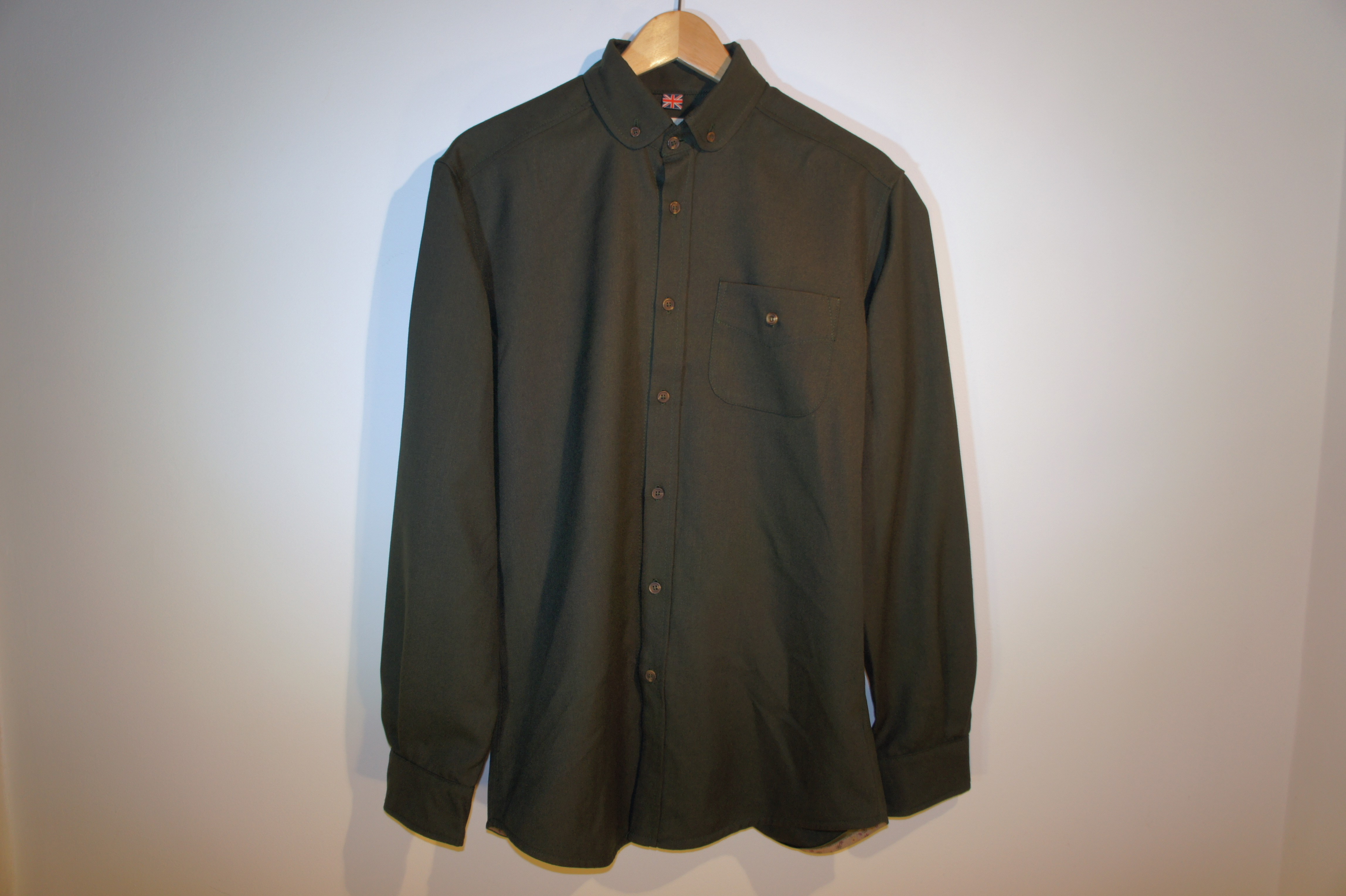 Mandarin /Button Down Overshirt | Goose Green