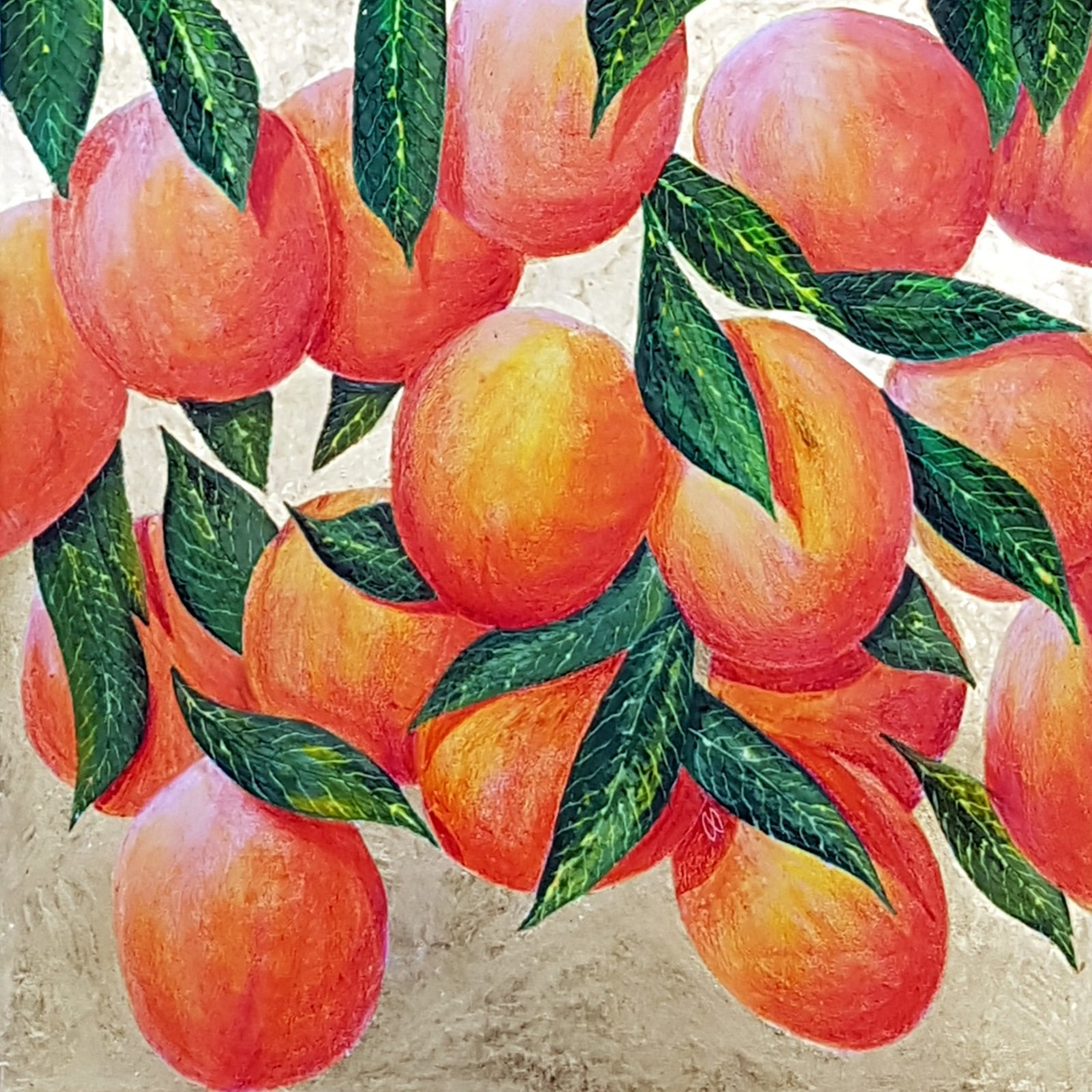 Vibrant painting of a Peach tree with juicy ripe fruit on gold leaf