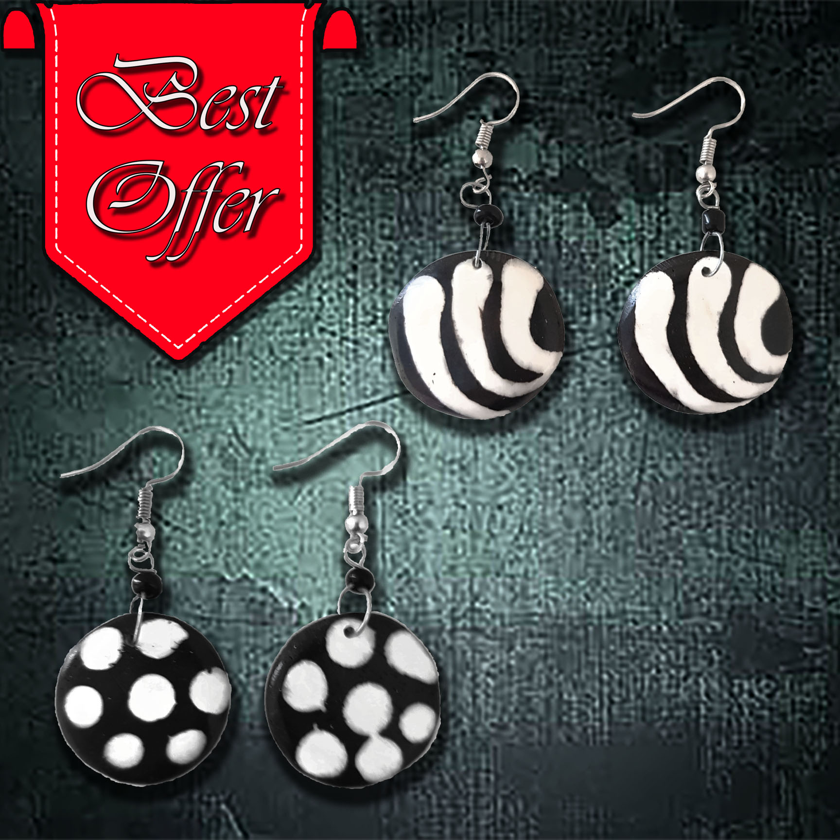 African Bone Earrings (Round)
