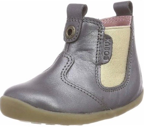 Metallic pewter girls' pull on Chelsea style boots
