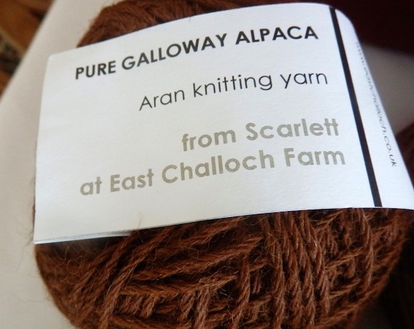 Aran weight knitting yarn spun from the wool of alpaca Scarlett, one of the herd at East Challoch Farm