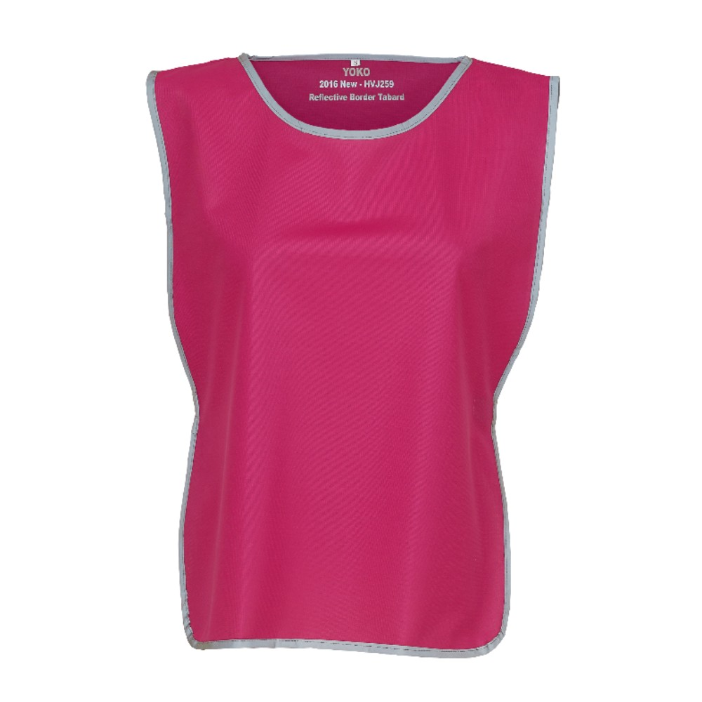 KHVJ259 Raspberry Polyester Tabard with Light Reflective Trim