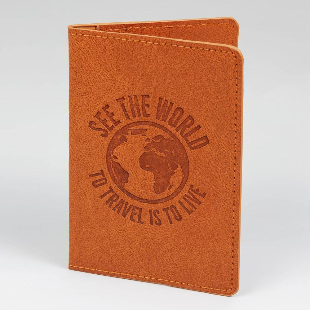 'See The World - To Travel Is To Live' Passport Cover