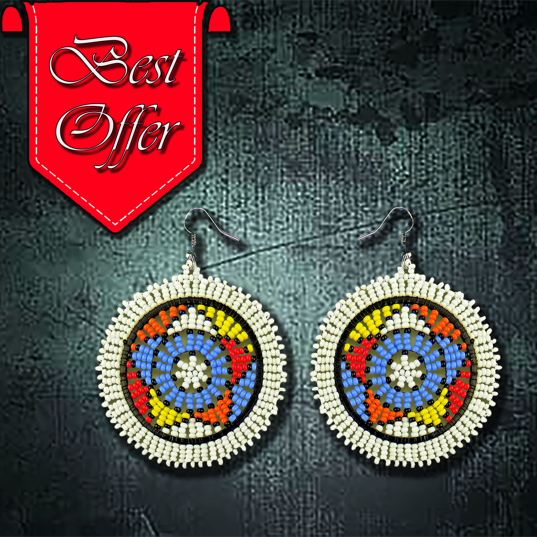 African Beaded Earrings, Circle (Large)