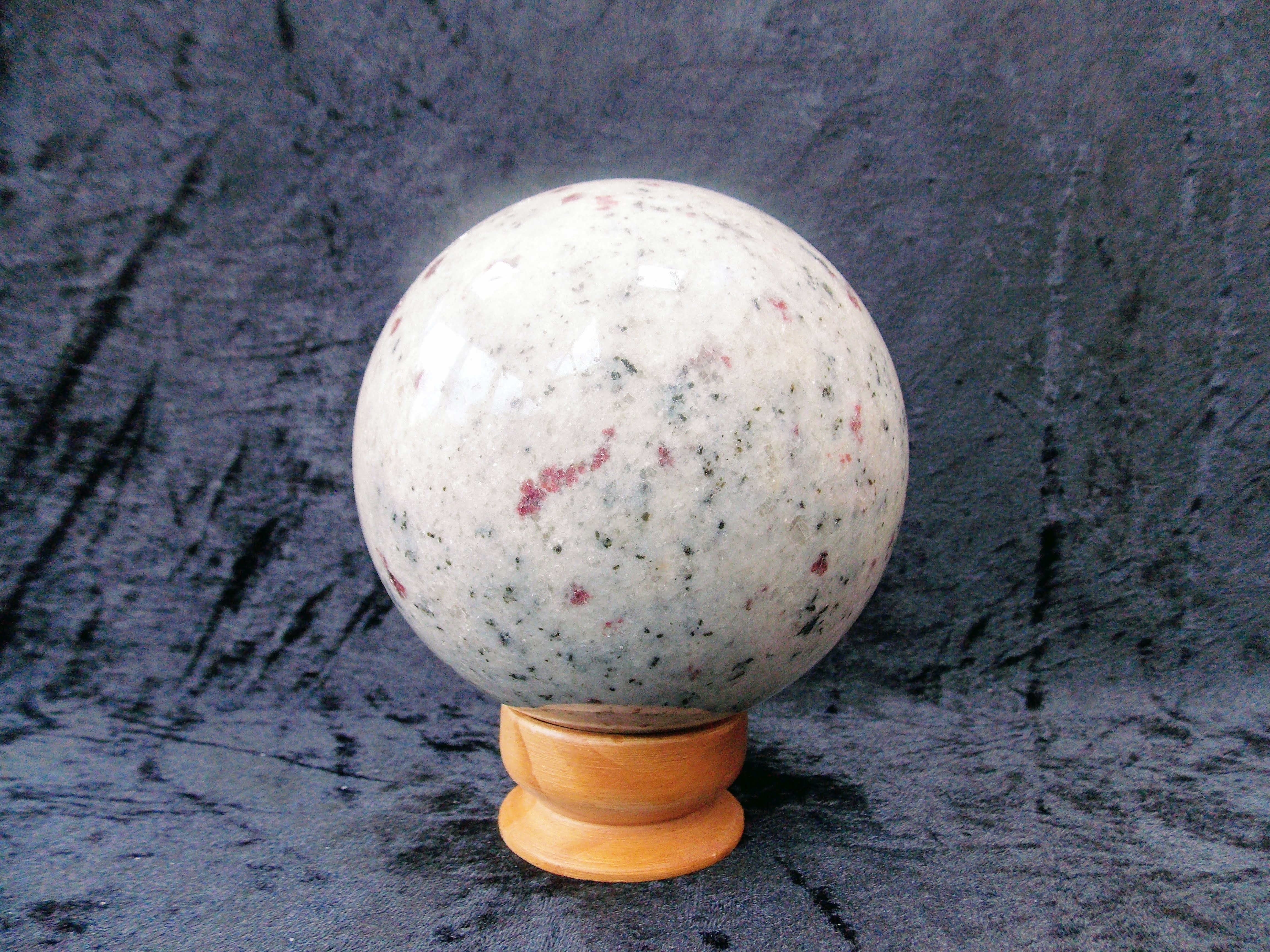 Ruby and Tourmaline in Snow Quartz,  Extra Large Sphere