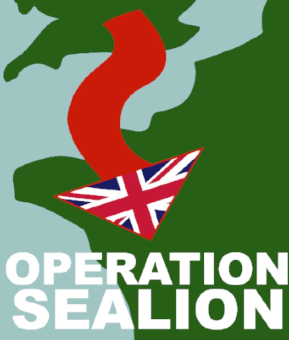 Operation Sealion logo depicting a Union Jack-headed arrow crossing the English Channel