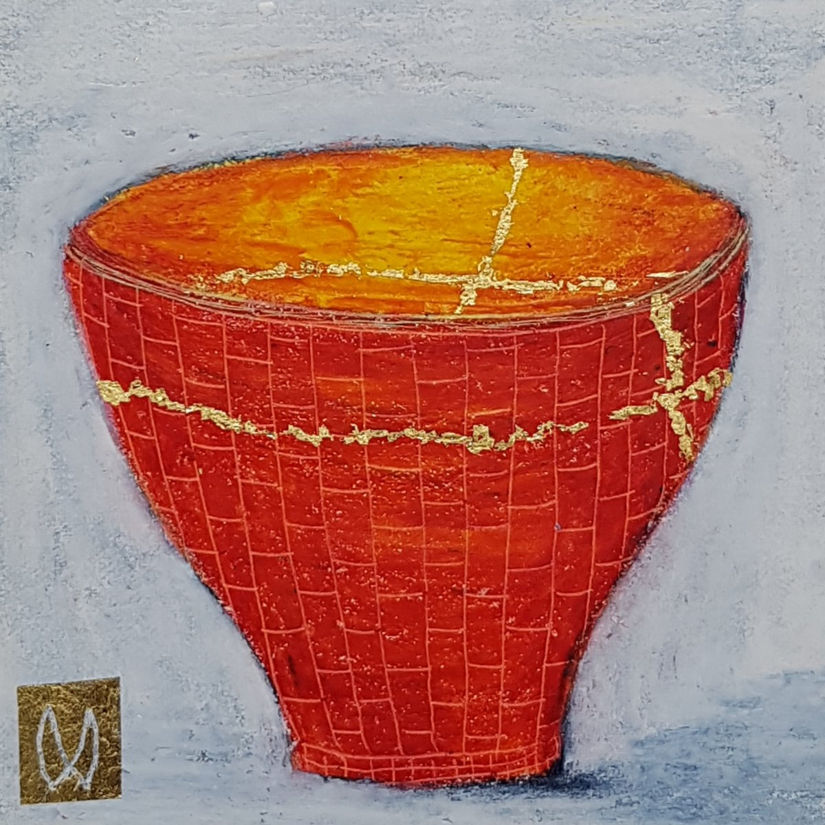 painting of Japanese kintsugi tea bowl with gold by Irish artist red orange