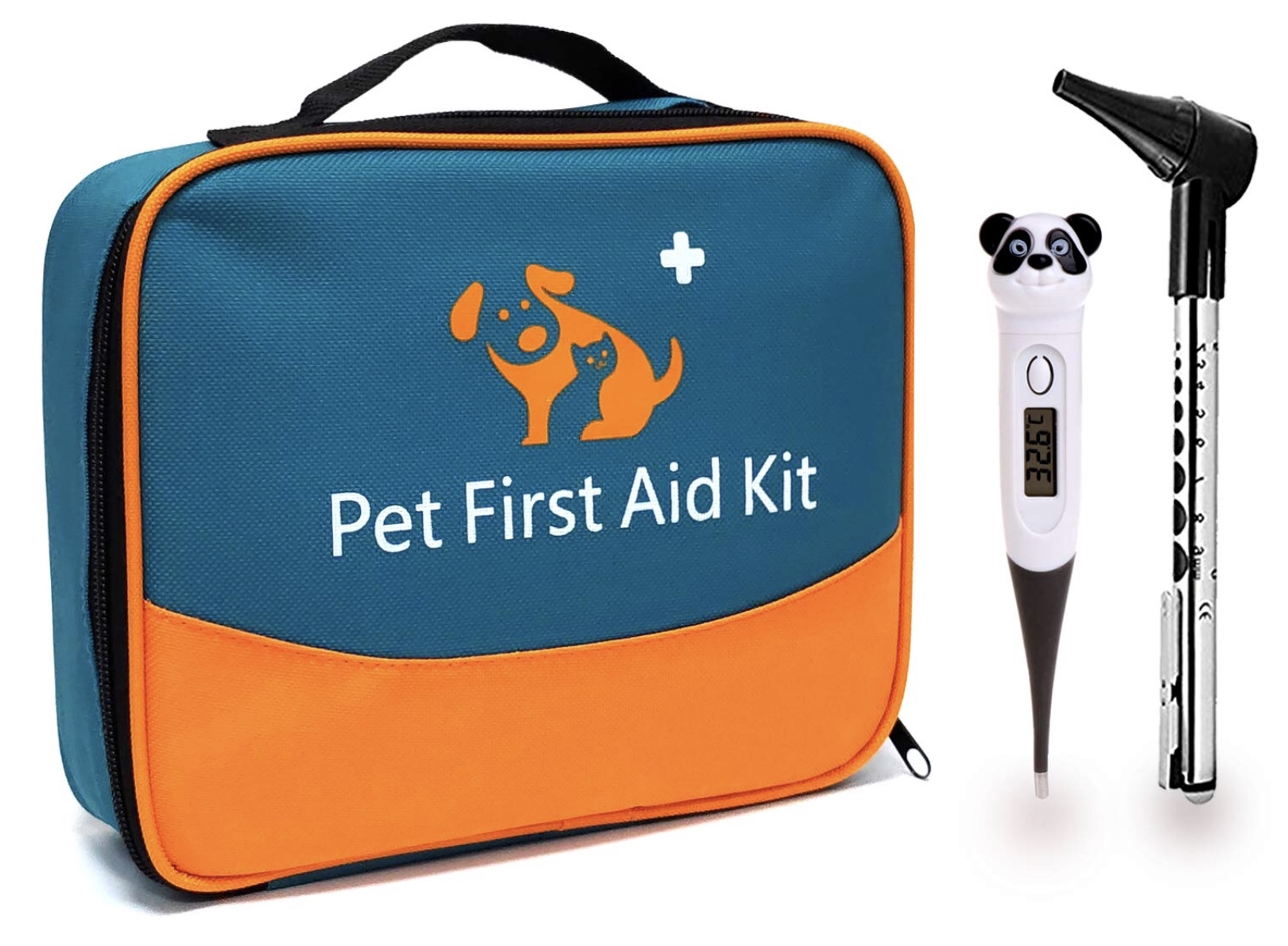 PET FIRST AID KIT WITH THERMOMETER & VETERINARY OTOSCOPE