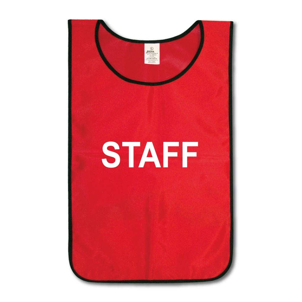 "Nylon Tabards Printed with ""STAFF"" on the Front & Back"