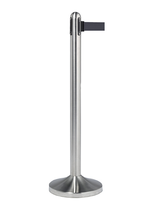 Retractable Barrier Post with Black Nylon Belt – brushed stainless steel