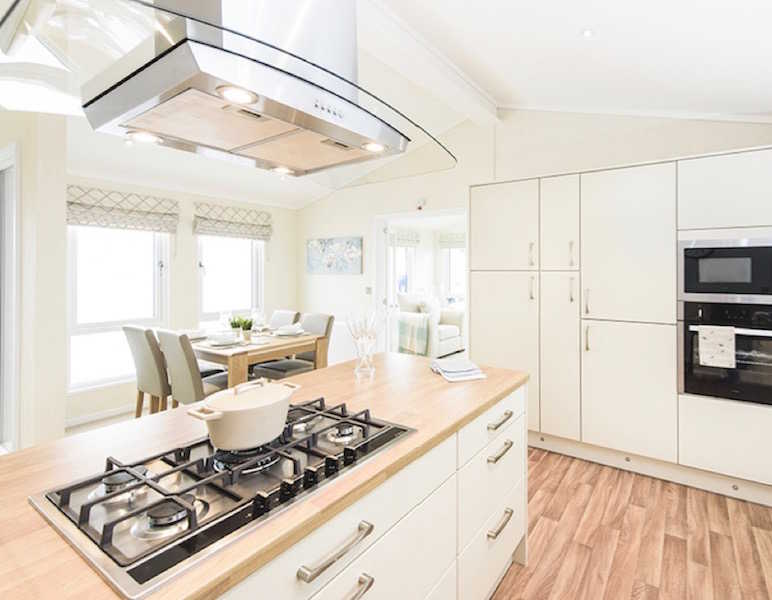 A Park home kitchen at The Firs Park, Hatfield, Hertfordshire