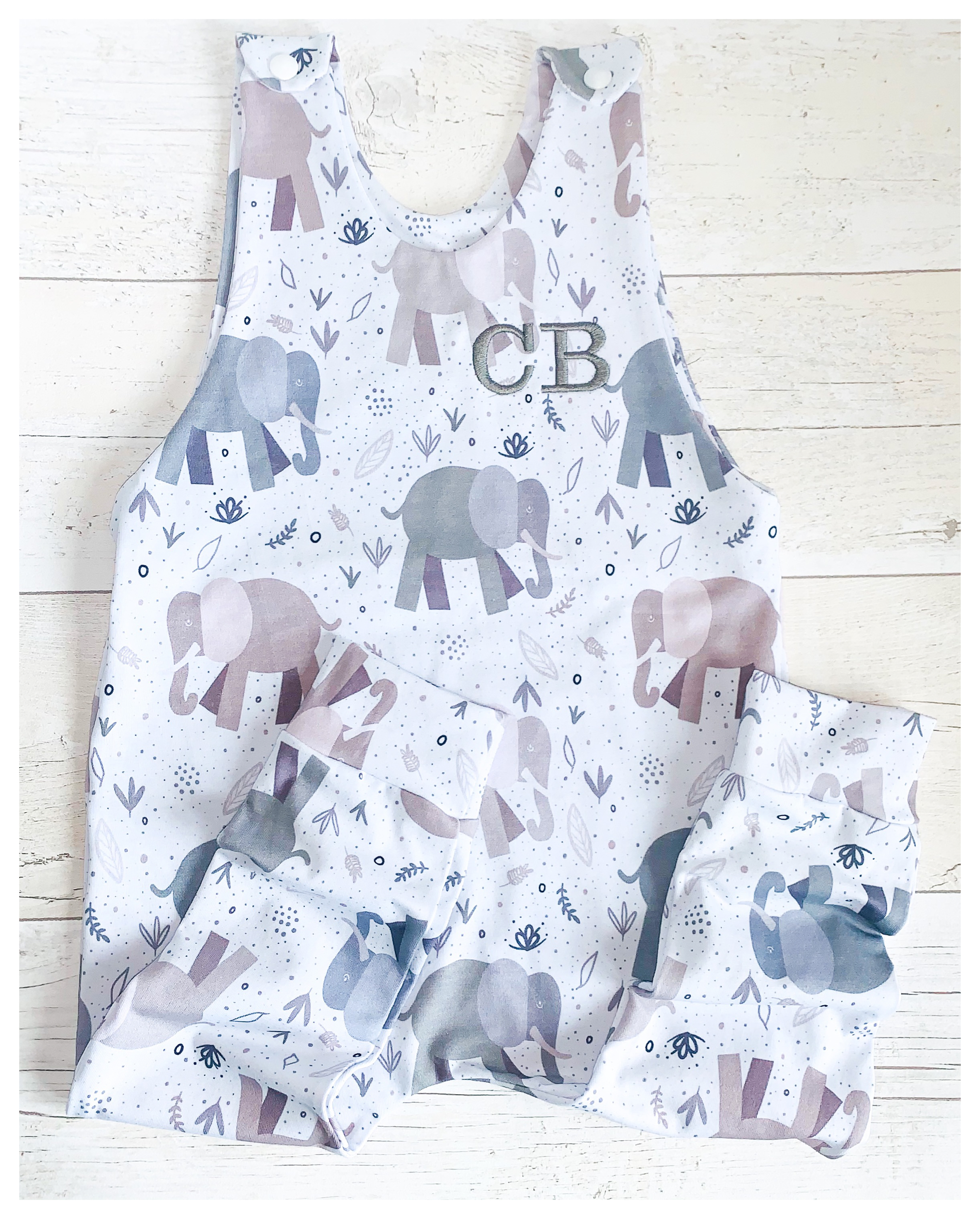 Blush Elephants Romper
