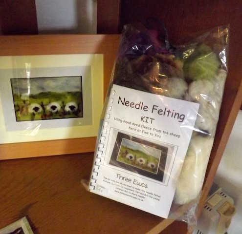 A sheep themed needle felting kit available from Galloway Farmhouse Cheese shop