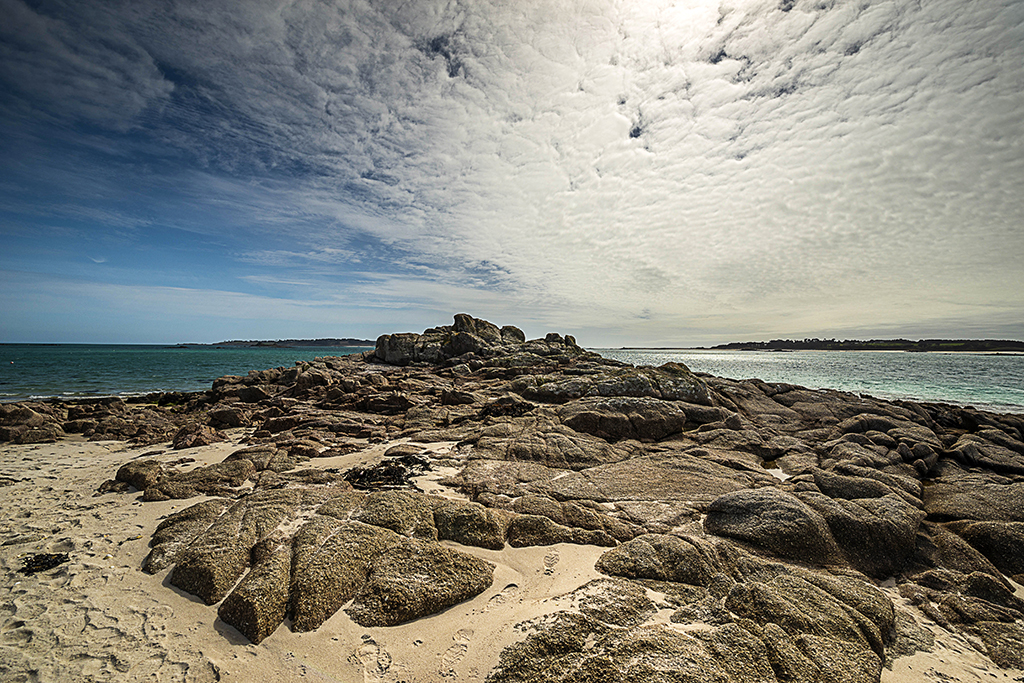 Southward Carn Rock Formation from Neck of the Pool beachfront. Stock Image ID: 2951