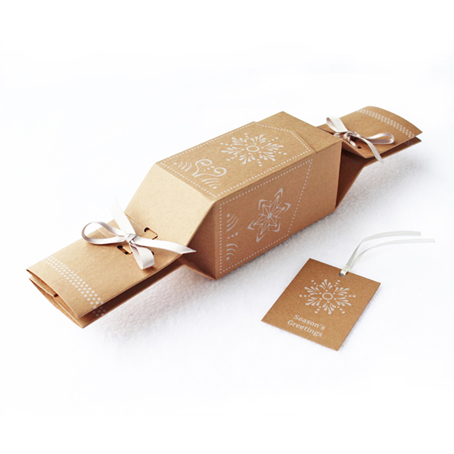 6 Reusable Eco Crackers - 'Ginger Cookies' Kraft design - with FREE tags