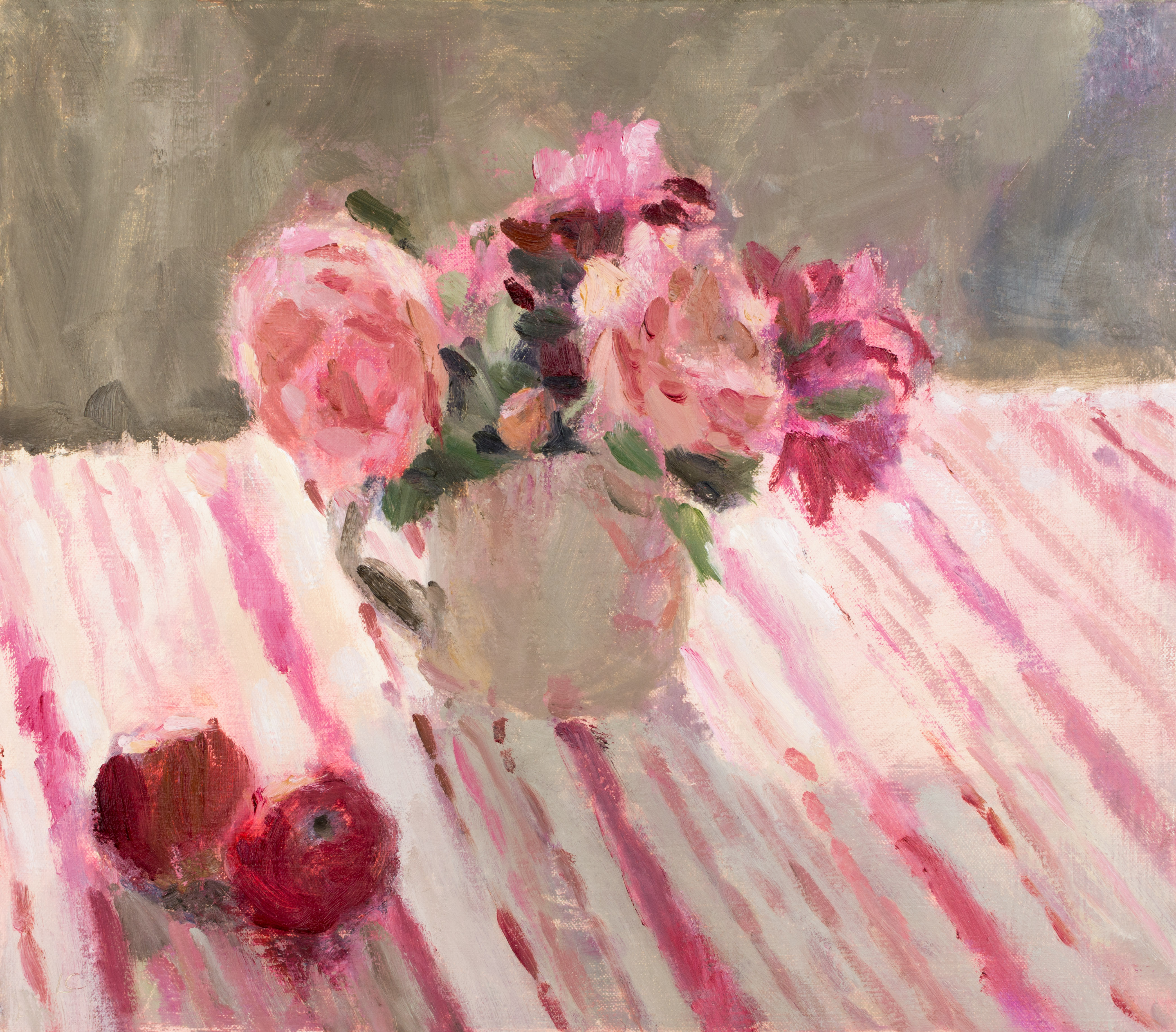 Roses and Apples on Striped Cloth