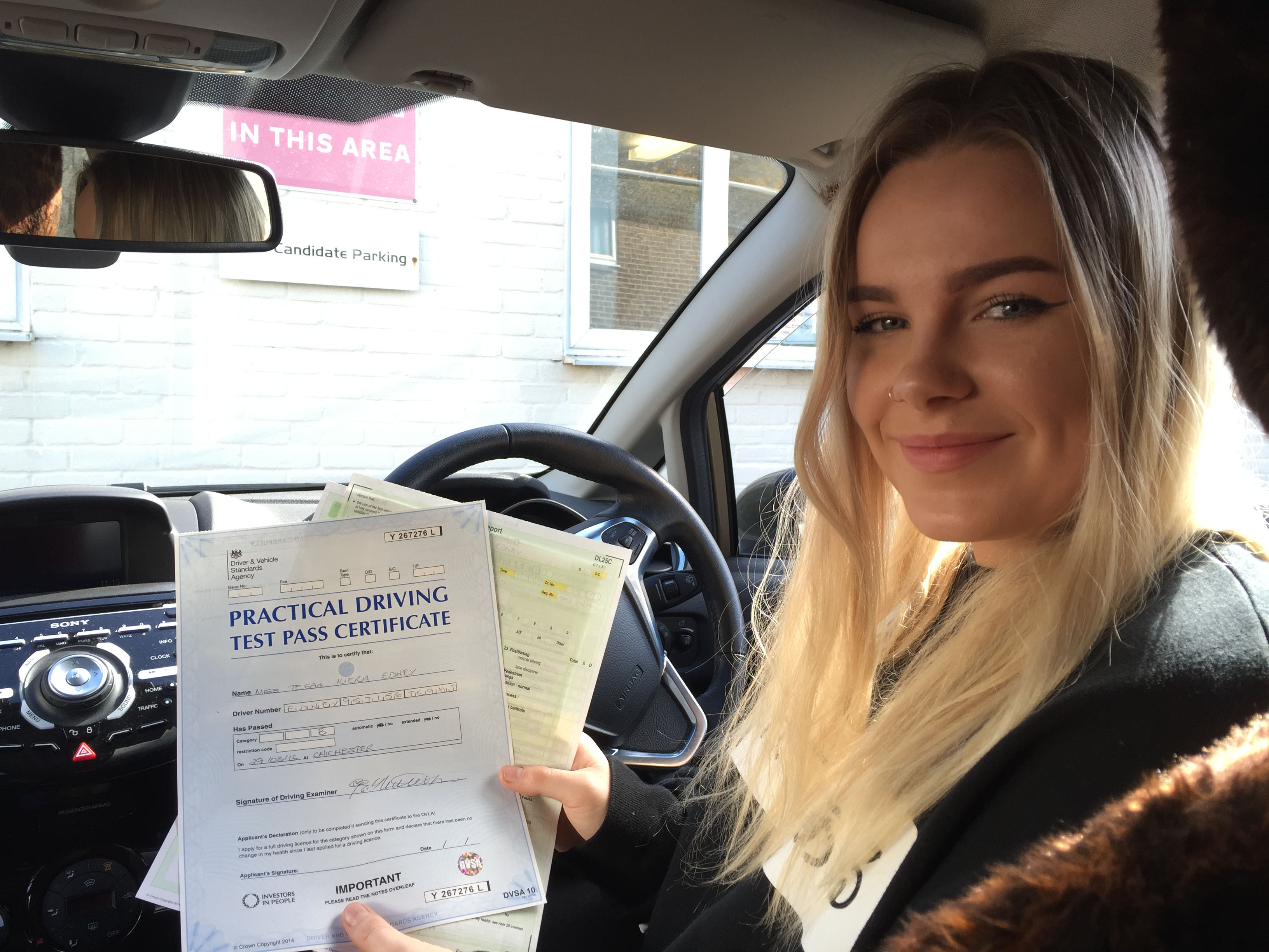Another first time driving test pass for Tegan after training with Purple Driving!