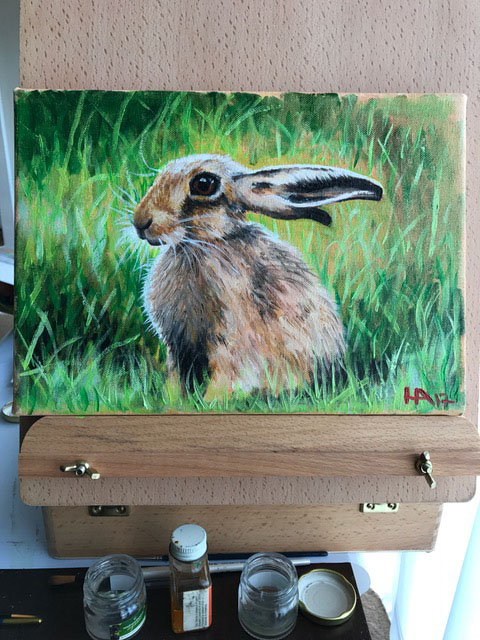 Spring Hare, oil on canvas, for sale £95